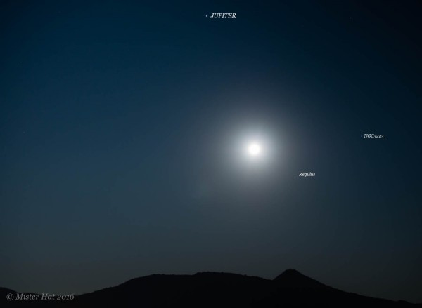 Moon, planet Jupiter, star Regulus on February 23, 2016 as captured by Vince Babkirk - aka Mister Hat - in Hua Hin, Thailand.