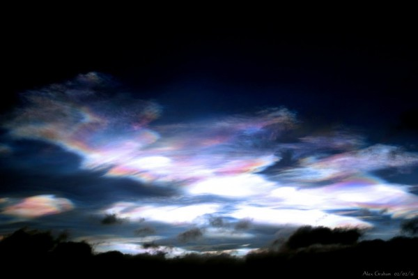 Nacreous clouds after sunset on February 2, 2016, caught by Alex Graham in Scotland.