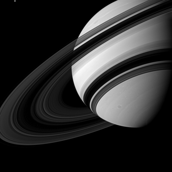 Saturn's B ring is the most opaque of the main rings, appearing almost black in this Cassini image taken from the unlit side of the ringplane. Image credit: NASA/JPL-Caltech/Space Science Institute