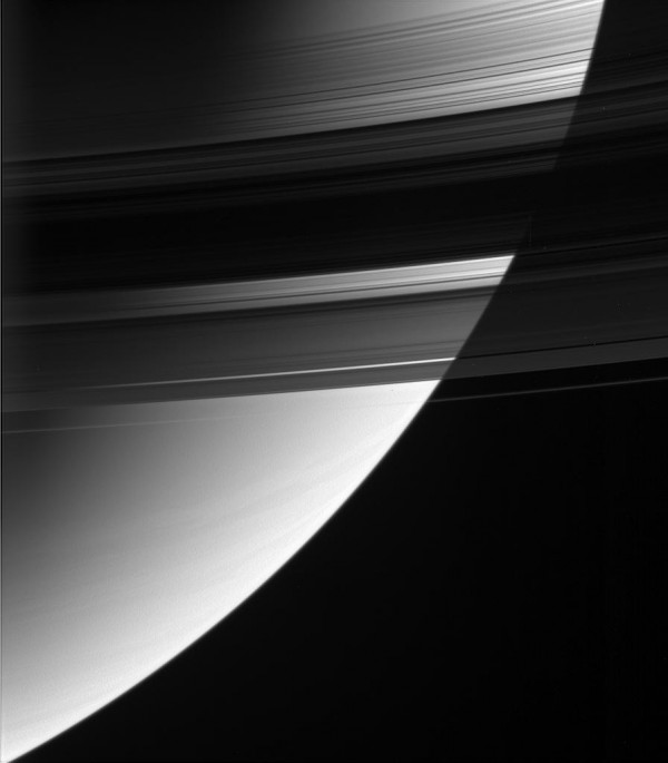 Some parts of Saturn's B ring are up to 10 times more opaque than the neighboring A ring, but the B ring may weigh in at only two to three times the A ring's mass. Image credit: NASA/JPL-Caltech/Space Science Institute