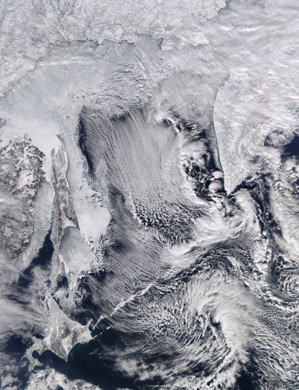 NASA's Aqua satellite captured this image of cloud streets and sea ice in the Sea of Okhotsk on Feb. 8, 2016.  Image via NASA/ LANCE/EOSDI.