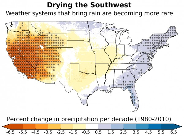 Weather systems that typically bring moisture to the southwestern United States are forming less often, resulting in a drier climate across the region. This map depicts the portion of overall changes in precipitation across the United States that can be attributed to these changes in weather system frequency. The gray dots represent areas where the results are statistically significant.  Image credit: Andreas Prein, NCAR.