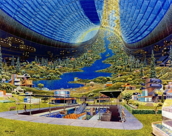 Even NASA has toyed with the idea of large space habitats. This is a painting by space artist Don Davis.