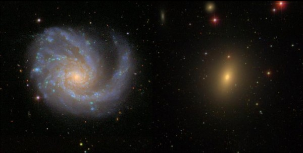 Left: a spiral galaxy ablaze in the blue light of young stars from ongoing star formation; right: an elliptical galaxy bathed in the red light of old stars. Image credit: Sloan Digital Sky Survey