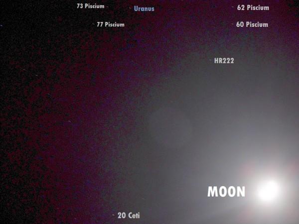 View larger. | José Luis Ruiz Gómez in Almería, Spain captured Uranus near the moon on January 15, 2016.  He wrote: