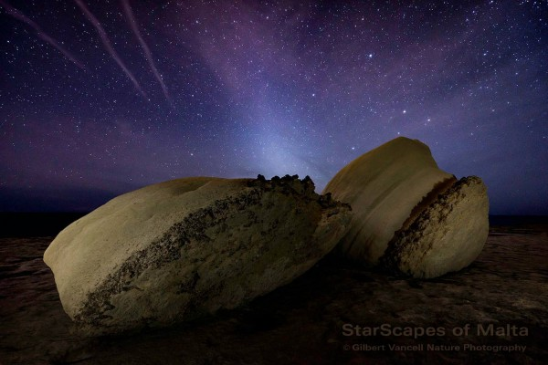 View larger. | Zodiacal light, by Gilbert Vancell Nature Photography, part of his Starscapes of Malta series. Visit him on Facebook.