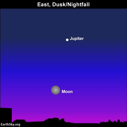 From around the word, look for the moon and Venus in the eastern sky as darkness falls.