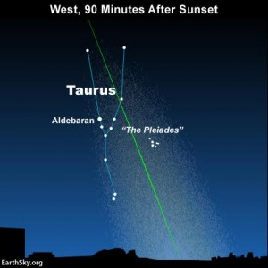 Zodiacal light in front of the constellation Taurus.