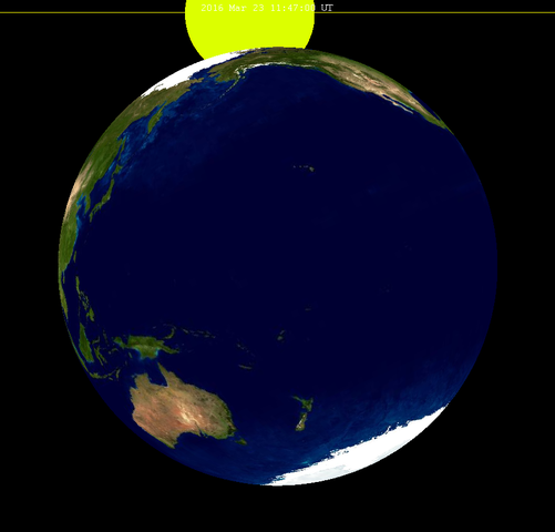 The eclipse on March 23, 2016, would be considerably more spectacular from the moon. Someone standing inside the Earth's penumbral shadow on the moon would see a partial solar eclipse, with our planet Earth taking a bite out of the sun's disk!