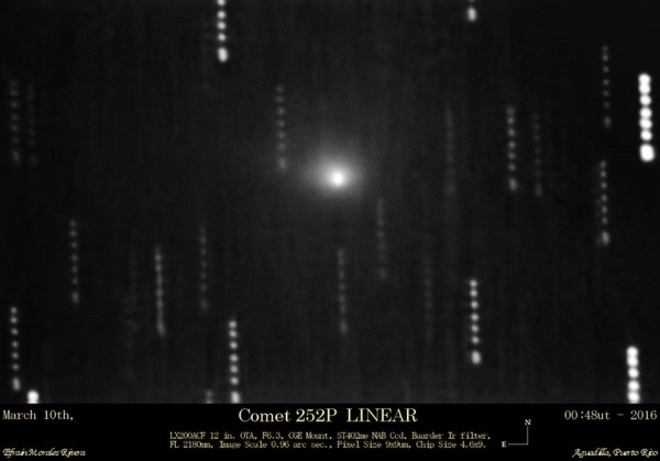 Comet 252P/LINEAR  photographed on March 10 by Efrain Morales of the Sociedad de Astronomia del Caribe.