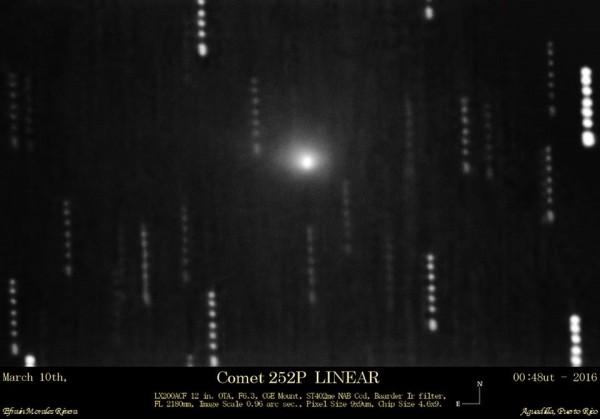 Comet 252P/LINEAR  photographed on March 10 by Efrain Morales of the Sociedad de Astronomia del Caribe.