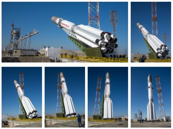 ExoMars 2016 in the Proton-M launcher at the launch pad in Baikonur, Kazakhstan. Image via ESA - B. Bethge.