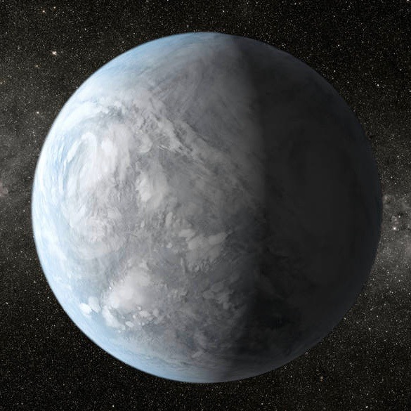 Artist's concept of Kepler 62E, about 1,200 light-years away in the constellation Lyra.  Image via NASA Ames/JPL-Caltech/T. Pyle.
