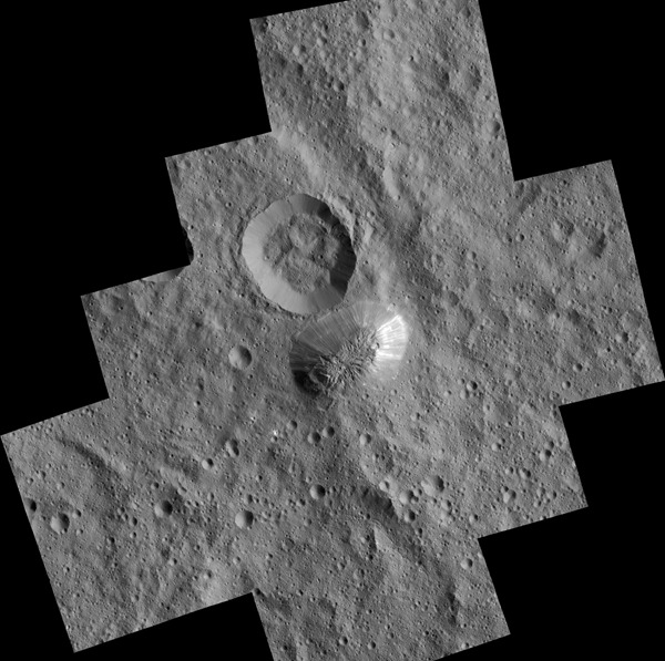 The mysterious mountain Ahuna Mons is seen in this mosaic of images from NASA's Dawn spacecraft. Dawn took these images from its lowest-altitude orbit. Image credit: NASA/JPL-Caltech/UCLA/MPS/DLR/IDA