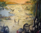An artist's rendition of what the study site at Olduvai Gorge, Tanzania, where human ancestors searched for food and water, may have looked like 1.8 million years ago, Image cedit: M.Lopez-Herrera via The Olduvai Paleoanthropology and Paleoecology Project and Enrique Baquedano.