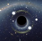 Physicists have argued strenuously that it was not possible that all quantum information could remain hidden within the black hole when it shrunk to minute sizes. Simulated view of a black hole in front of the Large Magellanic Cloud. Image credit: Alain r/Wikimedia Commons