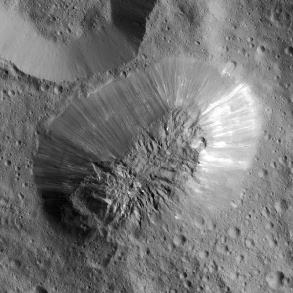Ahuna Mons, a smooth-sided, dome-shaped mountain on the dwarf planet Ceres.  Scientists still can't explain how it formed.