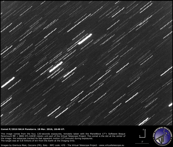 Comet P/2016 BA14 on March 18, 2016 via the Virtual Telescope Project.  Read more about this image.