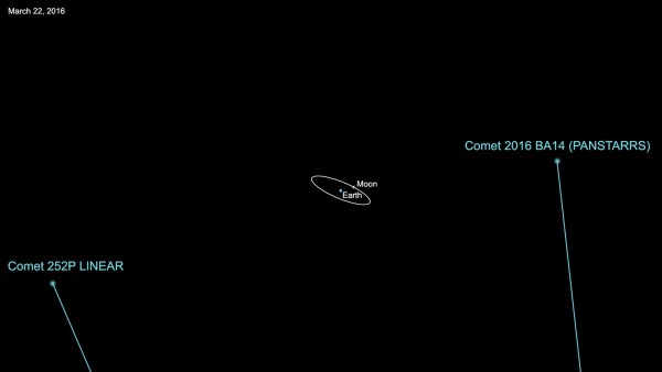 View larger. | Comet 252P/LINEAR is safely flying past Earth on March 21, 2016, at a range of about 3.3 million miles (5.2 million kilometers). On March 22, comet P/2016 BA14 safely sweeps past by our planet at a distance of about 2.2 million miles (3.5 million kilometers). Image via NASA/JPL-Caltech.