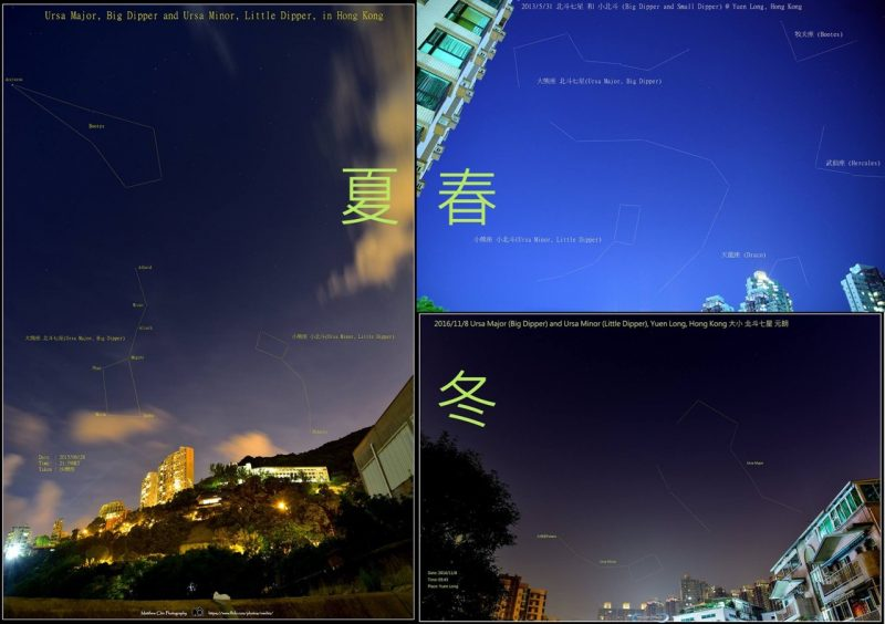 Three sky photos with Big Dipper in different orientations in each.