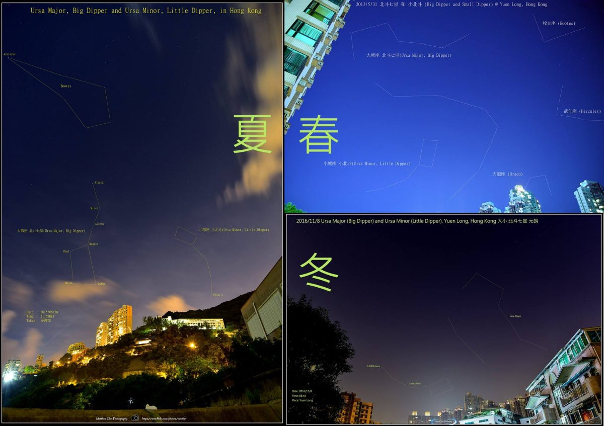 Big And Little Dippers At Different Seasons, And Different Times Of Night,  As Captured By Matthew Chin In Hong Kong