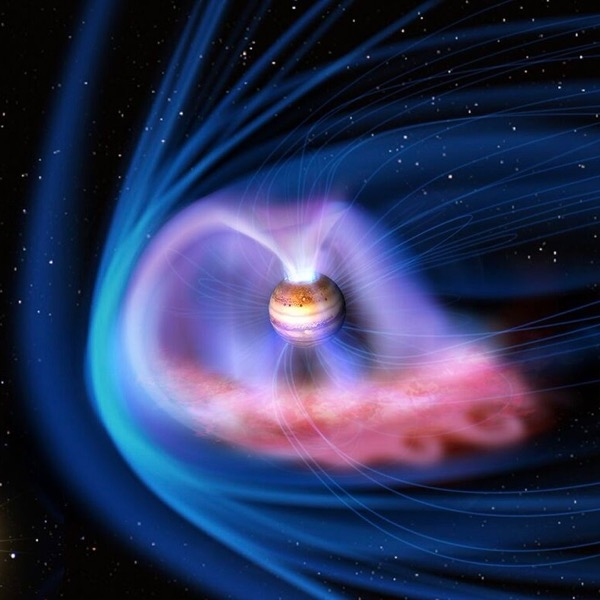 Artist's concept of Jupiter moving through the solar system and interacting with a powerful CME from our sun, which creates an aurora at Jupiter.  Image via University College London.