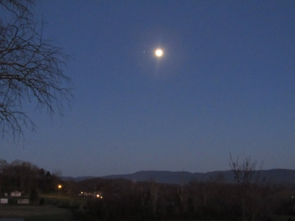 Moon and Jupiter on March 21, 2016 from Lester Fandel in Bristol, Tennessee.