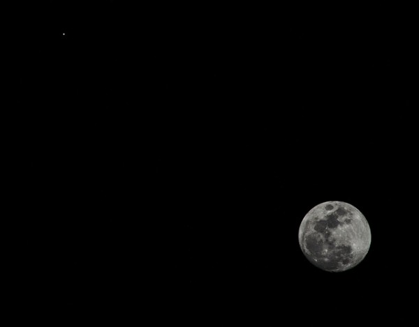 Moon and Jupiter - March 21 2016 - photographed in Tucson, Arizona by Eliot Herman.