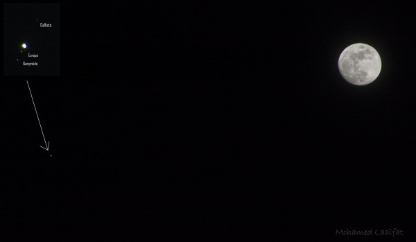 Jupiter near the March 21, 2016 moon. In this image from tonight by Mohamed Laaifat in Normandy, France, the arrow points to Jupiter ... and he's added an inset showing the planet and its moons!
