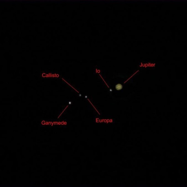 Jupiter and the four Galilean satellites, February 29, 2016, by Kurt Zeppetello.