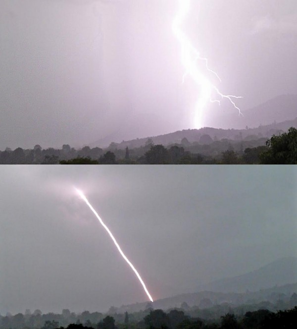 February 27, 2016 lightning near Mutare, Zimbabwe in comparison to the straight lightning recorded from the same location, at the same time of year, a year earlier.
