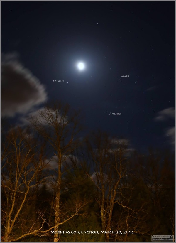 Planets and moon on March 29, 2016 from Tom Wildoner in Weatherly, Pennsylvania.