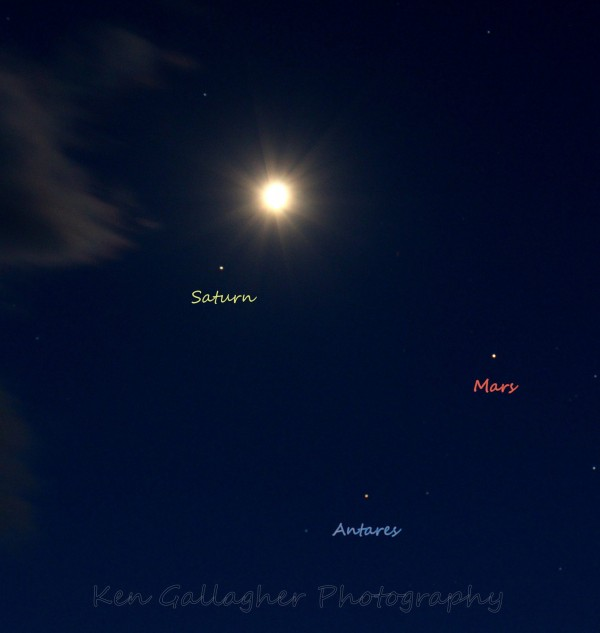 Planets and moon on March 29, 2016 from Ken Gallagher in Lake Havasu, Arizona.