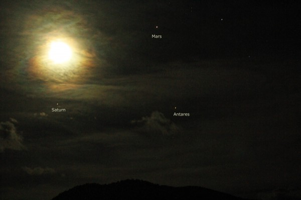 Planets and moon on March 29, 2016 from Amy Dengler in Basalt, Colorado.