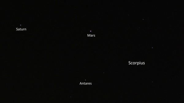 While Jupiter dominates the evening sky, Saturn and Mars are wonderful before dawn, in a triangle with the star Antares. Photo taken April 18, 2016 by Raul Cortes in Monterrey, Mexico.  Mars will brighten dramatically in the coming months!