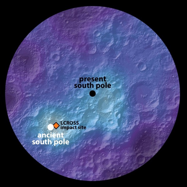 Polar hydrogen map of the moon's southern hemisphere, showing the location of the moon's ancient and present-day south pole. Image via James Keane, University of Arizona; Richard Miller, University of Alabama at Huntsville.
