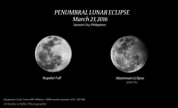 This photo - from James Jacolbia in Quezon City, Philippines, is different from the one above. Left, moon with no eclipse. Right, moon undergoing March 23, 2016, penumbral lunar eclipse.