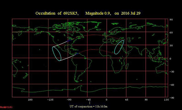 View larger. The portion of the globe between the solid white lines has the lunar occultation of Aldebaran taking place in the predawn hours on July 29, 2016. Click here to find out the occultation times in Universal Time.