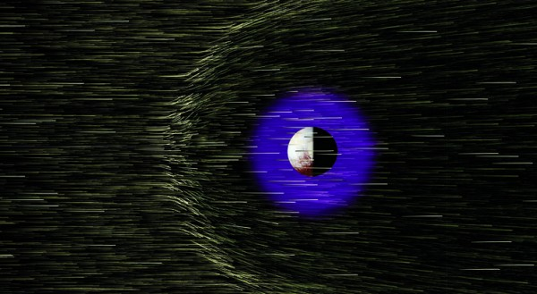 Pluto's atmosphere is buffeted by protons and electrons streaming from the sun as the solar wind. Image credit: H.A. Weaver et al.