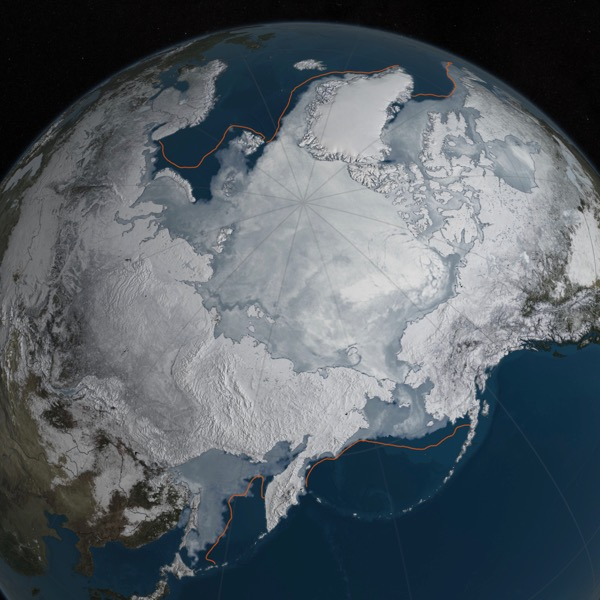 View larger. | Arctic sea ice was at a record low wintertime maximum extent for the second straight year. At 5.607 million square miles, it is the lowest maximum extent in the satellite record, and 431,000 square miles below the 1981 to 2010 average maximum extent. Image via NASA Goddard's Scientific Visualization Studio/C. Starr.