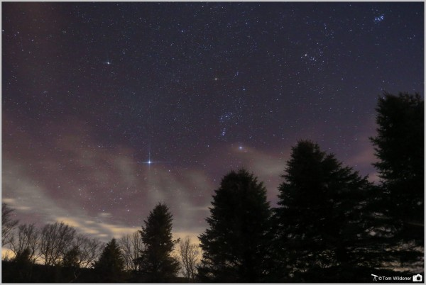 View larger. | The three Belt stars of Orion pointing toward Sirius, the sky's brightest star.  Tom Wildoner caught this shot on March 11, 2016. He wrote: