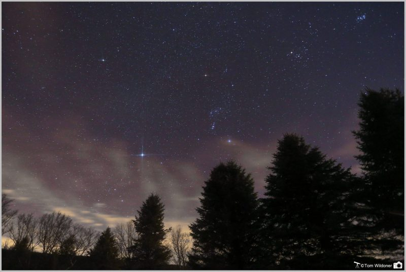 Sky with constellation Orion and a bright star to the lower left.