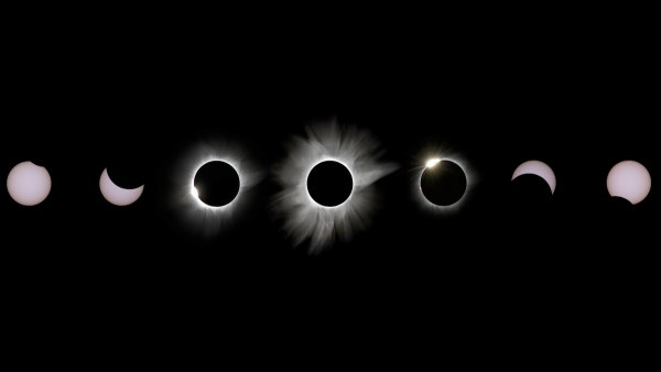 View larger. | Justin Ng at Amazing City Beach Resort in Palu, Indonesia created this photo mosaic of the March 9, 2016 total eclipse of the sun.