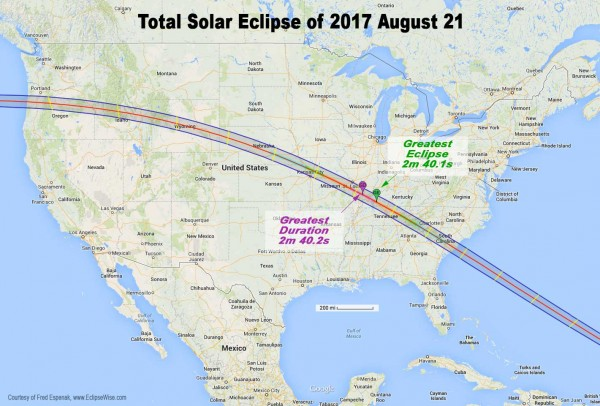 Greatest duration/ greatest eclipse for August 21, 2017 total solar eclipse, via Fred Espenak.