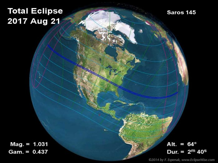Path of 2017 total solar eclipse, via Fred Espenak.