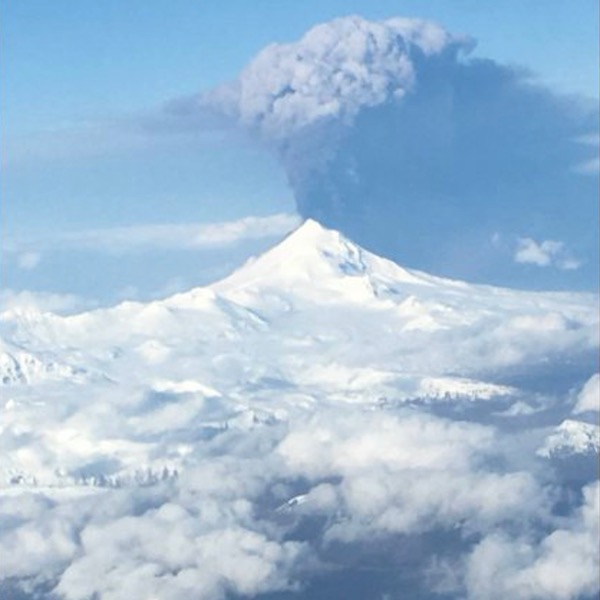 A volcano on the Alaska Peninsula has stirred with new activity this weekend, with volcanologists reporting an eruption Sunday afternoon that sent ash 20,000 feet into the air. Photo courtesy of Glenn Stevens via Alaska Dispatch News.