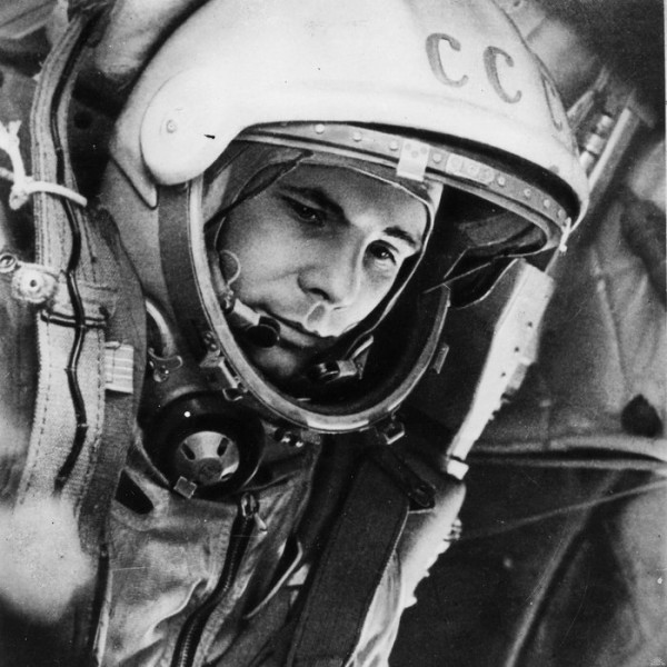 Closeup of man in space helmet with CCCP on it.