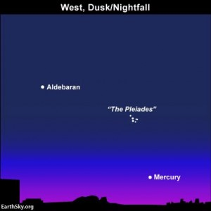 Look westward at darkness gives way to nightfall for the planet Mercury.