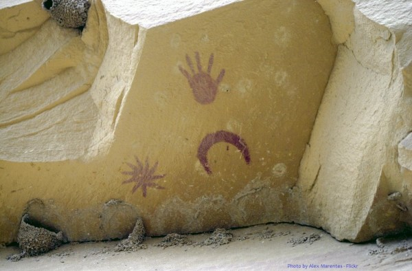 Anasazi pictograph possibly depicting the Crab Nebula supernova in AD 1054. Chaco Canyon, New Mexico.