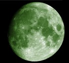 This green moon photo was created via photo processing, and is via Wikimedia Commons.